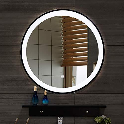 LIGHTXYX Luz de Espejo de baño iluminada con LED Borde de Metal Negro Redondo con Interruptor de Sensor táctil Regulable