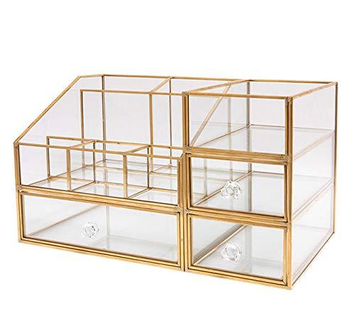 メイクボックス銅結合ガラス化粧品収納2段 引き出しケース透明なテーブルスキンケアスーツラック 口紅 仕切り収納 コスメ 装飾 卓上小物入れ アクセサリー (XXL)