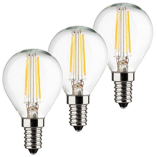 MÜLLER-LICHT 3er-Set Retro-LED Tropfenform Ersetzt 40 W, Glas, E14, 4 W, Silber, 4.5 x 4.5 x 8 cm, 3 Einheiten