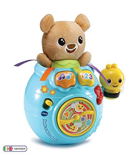 VTech Baby Peek-a-Boo Ours en Peluche interactif pour Jeu sensoriel, Jouet Musical pour bébé avec Sons, chansons et Phrases, Cadeau de Noël idéal pour Les Tout-Petits âgés de 6 Mois, 1, 2 et 3 Ans
