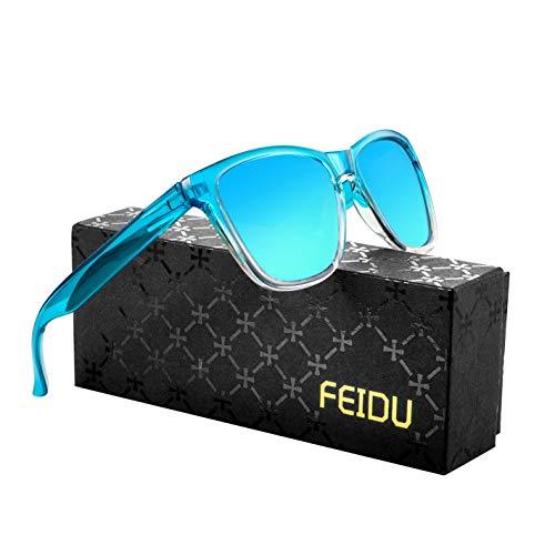 FEIDU Retro Polarisierte Damen Sonnenbrille Herren Sonnenbrille Outdoor UV400 Brille für Fahren Angeln Reisen FD 0628 (Cyan-blau, 60)