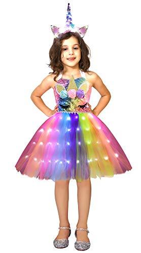 Soyoekbt Girls Unicorn Princess Party Dress Halloween Costume LED Light Up Unicorn Tutu Dress and Unicorn Headband 5-6 Years Rainbow Sequins L