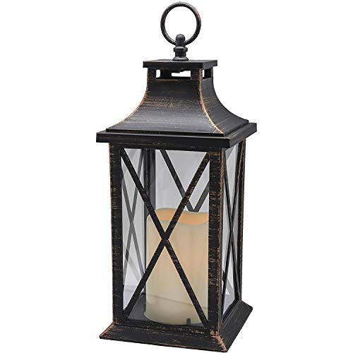 14' Flameless Candle Timer, Plastic LED Candle & Holder, Decorative Candle Lantern LED Indoor & Outdoor Hanging Lights Thanksgiving &Christmas Day Decorations (Antique Copper Brushed)