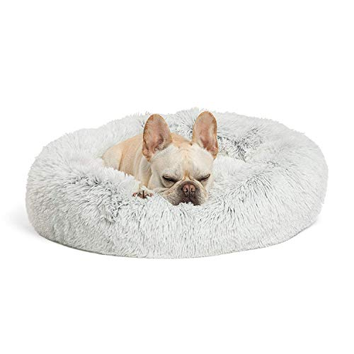 Best Friends by Sheri Calming Shag Vegan Fur Donut Cuddler (23x23 Small - Frost), Cat and Dog Bed