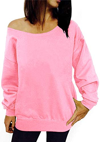Light Pink Women's Off The Shoulder Slouchy Sweatshirt, S to 3XL