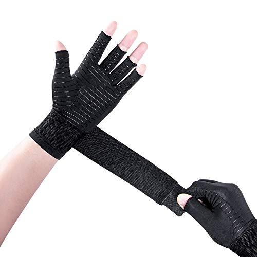 Thx4COPPER Compression Arthritis Handschuhe mit Riemen - Best Copper Infused - Fingerloser Handschuh Handgelenkstütze für Karpaltunnel, RSI, Sehnenentzündung, Handschmerzlinderung - Unisex-Paar