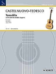 SCHOTT CASTELNUOVO-TEDESCO MARIO - TONADILLA AUF DEN NAMEN VON ANDRES SEGOVIA OP. 170/5 - GUITAR Partition classique Guitare - luth Guitare