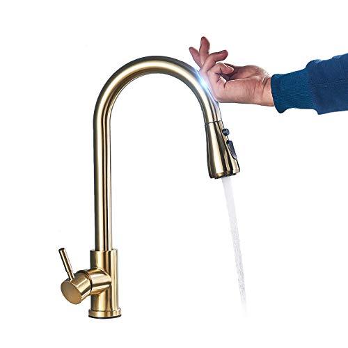 Grifo de cocina con sensor táctil y dispositivo de pulverización con doble salida, modos de agua, giratorio 360°, grifo de cocina de alta arco, color dorado cepillado