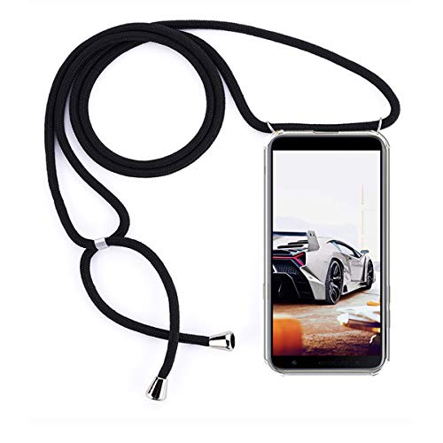 GoodcAcy Handykette Hülle für Samsung Galaxy J4 Core Necklace Hülle mit Kordel zum Umhängen Necklace Transparent Silikon Acryl Case- Schnur mit Case zum umhängen[+Panzerglas Schutzfolie]