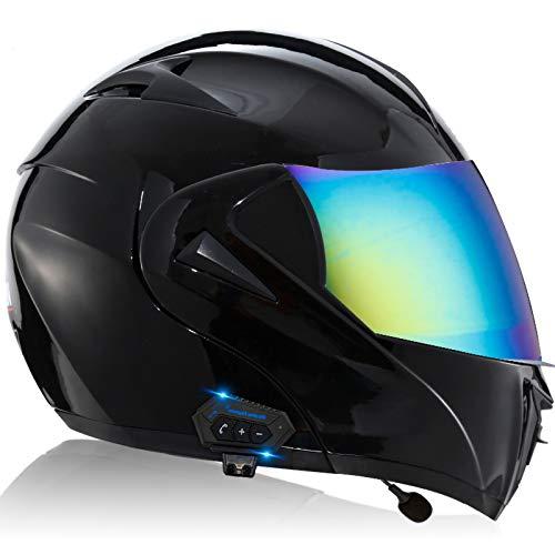 Cascos De Motocicleta,Casco de Moto Modular Bluetooth Integrado con un Micrófono Incorporado Anti Niebla Visera Doble ECE/DOT Homologado Adultos Hombres Mujeres C,S=55~56CM
