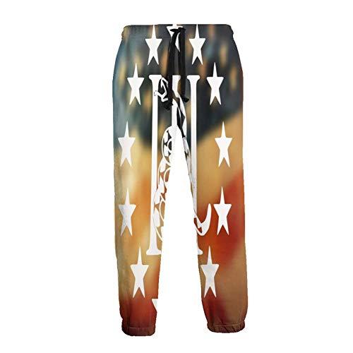 Bandera Americana De Dibujos Animados De La Serpiente Estrellas Unisex Corredores Frescos Hombres Pantalones...
