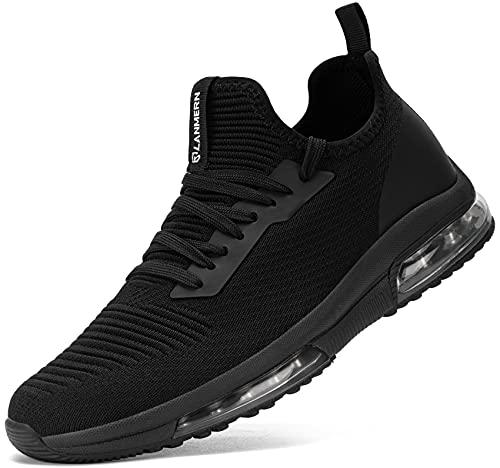 LARNMERN PLUS Zapatillas de Deporte Mujer Ligero Transpirable Air Zapatos para Correr Antideslizantes Amortiguación Comodos Caminar Zapatos(Negro,38)