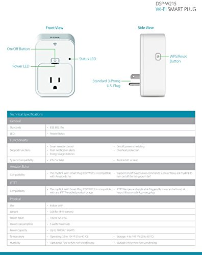 D-Link Smart Plug, Energy Monitoring, On/Off, DSP-W215, Works with Alexa and Google Assistant