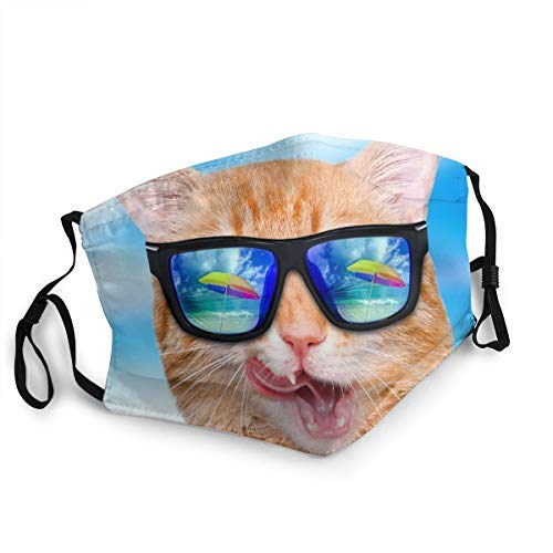 WLYDYS Laughing Sunglasses Cat Halloween Adult Dustproof Protective Masks Face Mask Mouth Mask Mouth Cover Scarf Mask Adjustable Breathing Filter Camping/Outdoor Washable Reusable for Women and Men