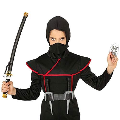 Amakando Ninja Waffen-Set mit Katana-Schwert, Wurfstern und 2 Dolchen / Shinobi-Kämpfer Ausrüstung / Bestens geeignet zu Kinder-Karneval & Kinderfest