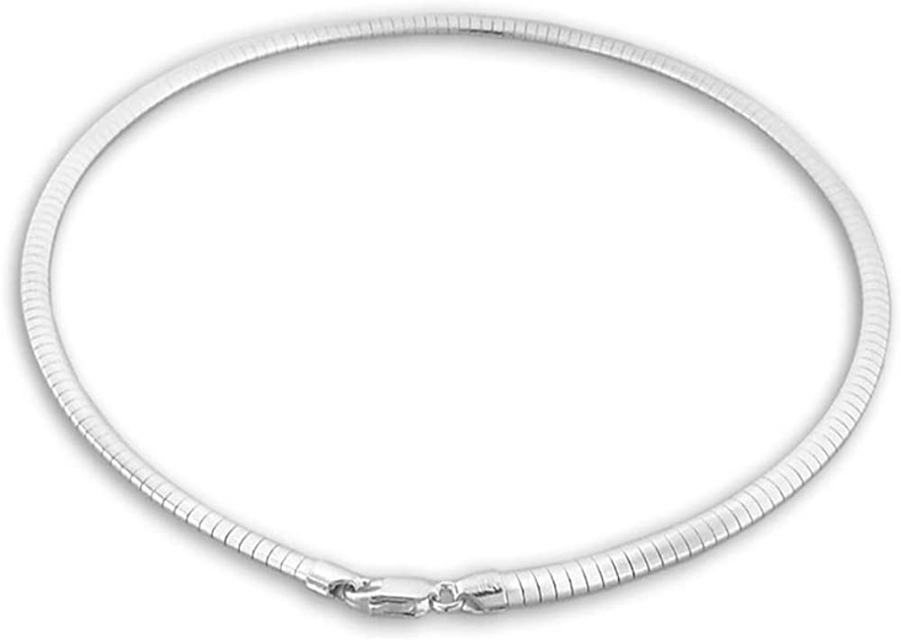 Verona Jewelers Sterling Silver Flexible Special price Omega Sale item Chai Flat Italian
