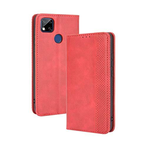 HAOTIAN Hülle für Xiaomi Redmi 9C NFC/Redmi 9C, Retro Premium PU Leder Flip Schutzhülle, Leder Klapphülle Slim Lederhülle mit Standfunktion und Kartenfach TPU Innenraum Hülle Handyhülle, Rot