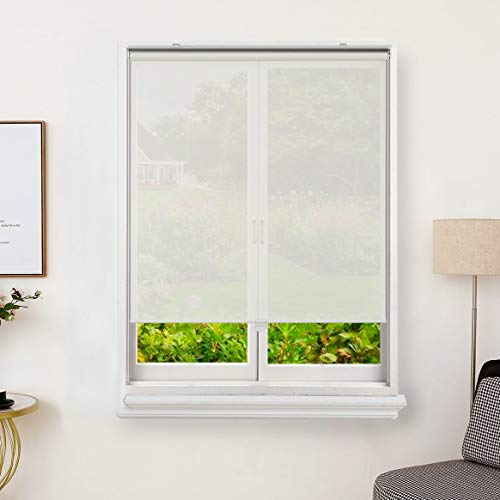 Everyday Celebration Cordless Light Filtering Solar Screen Roller Shade, UV Protection and Fire Retardant Semi Sheer Roller Blind for Indoor Outdoor 31x72 Ivory