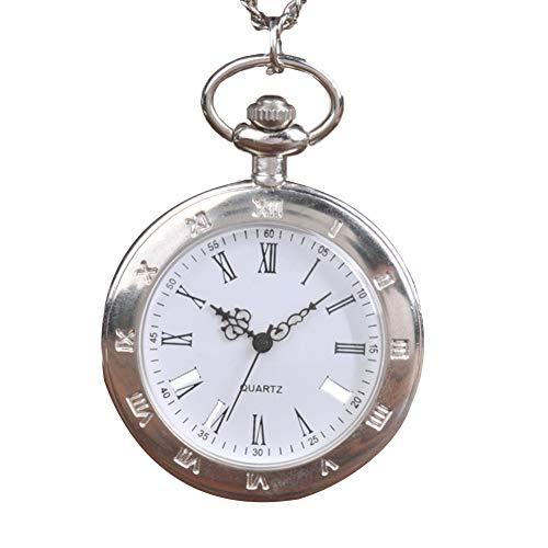 Reloj Reloj de Bolsillo de Cuarzo analógico Unisex del Motorista de Bolsillo Antiguo con la Cadena de la Vendimia números Romanos Escala L Tamaño de Plata 1pc