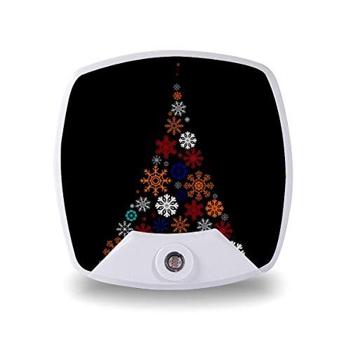 Lámpara LED de noche con sensor inteligente de atardecer a amanecer, decoración de Navidad, árbol de copos de nieve, lámpara blanca cálida para niños y escaleras, pasillo, cocina, dormitorio, etc