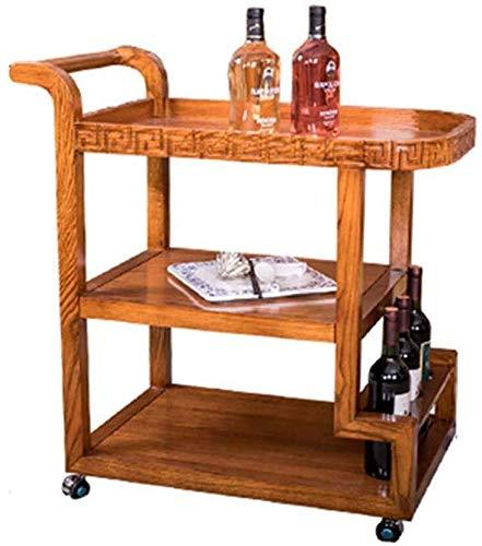 Estantería de vino Hogar del balanceo de la porción de la compra estante del vino de la compra de la porción carrito con ruedas con capacidad for almacenar Cocina Sala Living Bar 3 estantes Niveles Vi