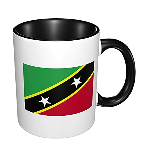 N\A Saint Kitts & Nevis Flagge 11 Unzen Kaffeetassen Keramikbecher Geeignet für Kaffee Tee Kakao Müsli
