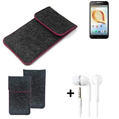 K-S-Trade Filz Schutz Hülle Für Alcatel A30 Plus Schutzhülle Filztasche Pouch Tasche Handyhülle Filzhülle Dunkelgrau Rosa Rand + Kopfhörer
