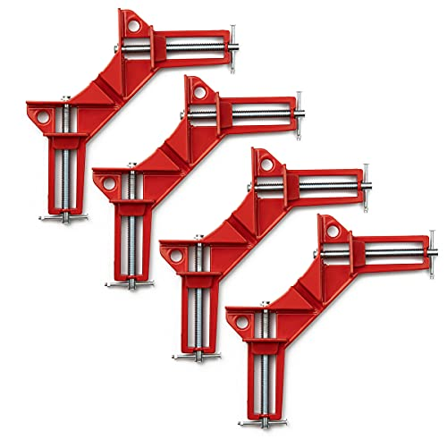 4Pcs 90 Degree Right Angle Clamp,Woodworking Clamps Set,Adjustable Wood Vice Miter Clamp,Hand Tools Corner Clamp Picture Holder Woodworking Holder