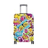 ALINLO - Funda para Equipaje con diseño de Emoticono de Flores y emoticonos de Colores Abstractos para Maletas de Viaje de 18-32 Pulgadas