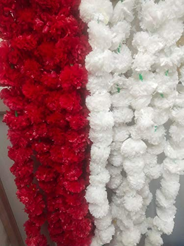 Pack of 10 Artificial White &Pink Marigold Flower Garlands 5 Ft Long, for Parties Indian Weddings Indian Theme Decorations Home Decoration Photo Prop Diwali Indian Festival