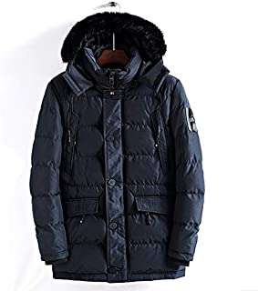 ETOSELL Plus Size 4XL Winter Men Jacket with Fur Hood Men's Clothing Casual Solid Warm Jackets Thickening Parkas Male Coat Color:Green, Size:XL