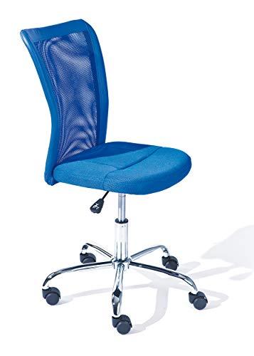 Inter Link Kinderdrehstuhl Bürostuhl Jugenddrehstuhl Schreibtischstuhl Drehstuhl Metall Bezug Mesh Blau 43 x 56 x 88-98 cm