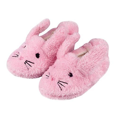LACOFIA Kleinkind Mädchen rutschfest Gummisohle Schuhe Kinder Winter Warme Plüsch Kaninchen Hausschuhe Rosa 24/25 EU