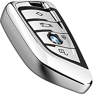 Intermerge for BMW Key Fob Cover,Key Fob Case for BMW X1 X3 X5 X6 and BMW Series 1 2 5 7 Smart Remote Premium Soft TPU BMW Key Cover (Silver)