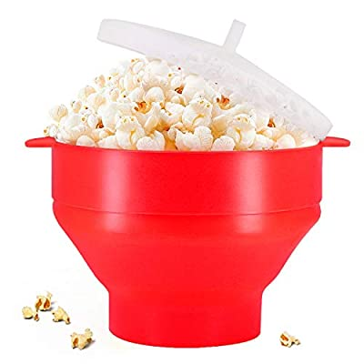 Original Microwaveable Silicone Popcorn Popper, BPA Free Collapsible Hot Air Microwavable Popcorn Maker Bowl, Use In Microwave or Oven (Red)