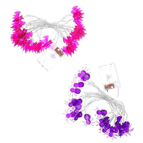 ibasenice 2 Sets Halloween Led String Lights Bat Spider Battery Operated String Lights Voor Halloween Decoraties Outdoor…