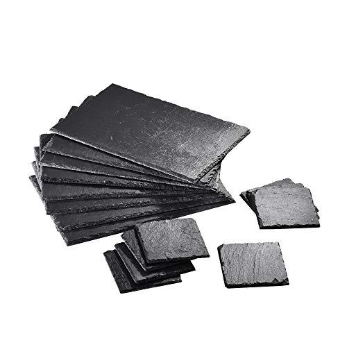 MALACASA, Serie Nature.Slate, 16-teilig Set Schieferplatte, Schiefer Platte Käseplatte Schieferuntersetzer Appetizer Servierplatte Buffetplatte 4