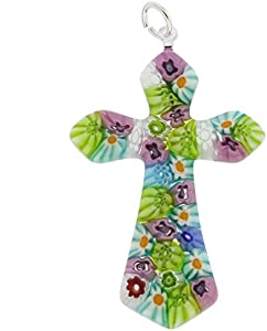 GlassOfVenice Colgante de cristal de Murano Millefiori elegante cruz multicolor