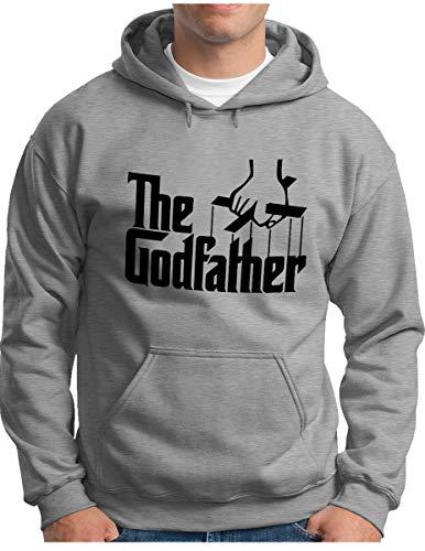 OM3® - The Godfather Hoodie - Herren - Mafia Trilogie Chicago New York USA Kult - Kapuzen-Pullover Grau Meliert, 3XL