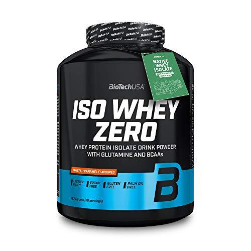 BioTechUSA Iso Whey Zero proteine isolate di alta qualità dal Native Whey Isolate, con l'aggiunta di L-glutammina e BCAA, 2.27 kg, Caramello salato