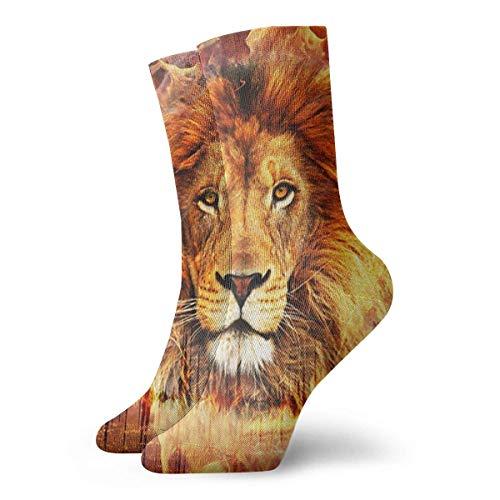 akingstore Cool Fire Lion Flame King Novedad Calcetines deportivos Calcetines atléticos Medias 30CM