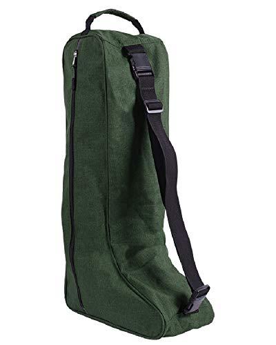 QHP Stiefeltasche mit Handgriff, abnehmbarem und verstellbarem Schultergurt (Dunkelgrün)