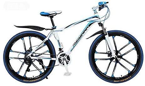 HCMNME Bicicleta Duradera Montaña for Bicicleta, PVC y Todos los Pedales de Aluminio, Marco de Acero de Alto Carbono y aleación de Aluminio, Doble Freno de Disco, 26 Pulgadas Ruedas Cuadro de
