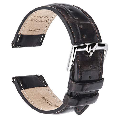 B&E Bandas de Reloj de Cuero de Liberación Rápida - Correas de Cocodrilo Pulido para Hombres y Mujeres - Clásico para Reloj Tradicional e Inteligente - 18 mm 20 mm 22 mm Ancho Disponible