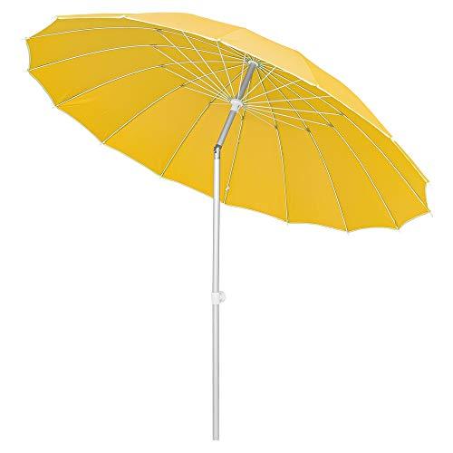 LOLAhome Parasol sombrilla Mostaza con Varillas Flexibles de Fibra de Carbono y mástil de Aluminio de Ø 250 cm