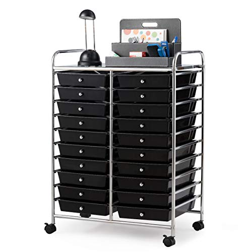 Giantex 20 Drawer Rolling Storage Cart Tools Scrapbook Paper Office School Organizer (25 x 15 x 35 Inch, Black)