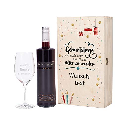 Herz & Heim® Geburtstagsgeschenk mit graviertem Weinglas und Bree Wein zur Auswahl in Präsentbox als Geschenk zum Geburtstag für Frauen und Männer Rot
