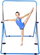 Gymnastic Bars for Kids with Adjustable Height, Folding Gymnastic Training Kip Bar, Junior Expandable Horizontal Monkey Bar for Home (Blue)