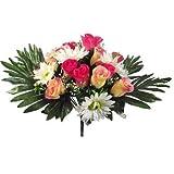 Buisson artificiel de luxe en soie de 36 cm, rose, jaune, crème et gerbera avec têtes de fleurs de 7,6 cm.