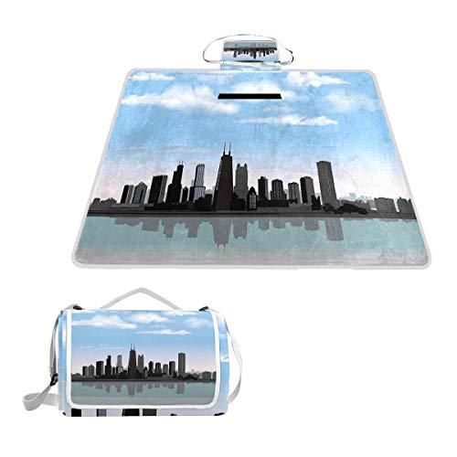 XINGAKA Picknickdecke,Tageszeit Illinois Mississippi River Wolken Küstenstadt Urban Design,Outdoor Stranddecke wasserdichte sanddichte tolle Picknick Matte